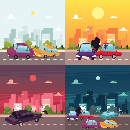 collisions: vector flat cartoon car crash, accident scenes. Vehicles front, side , tree collisions. Illustration on the background of big city with buildings at different day time.