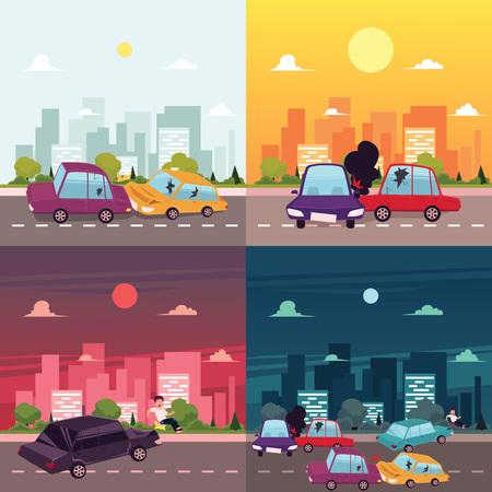 vector platte cartoon auto-ongeluk, ongeval scènes. Voertuigen voor, zijkant, boombotsingen. Illustratie op de achtergrond van grote stad met gebouwen in verschillende dagtijd.