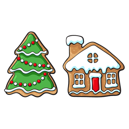 Glazed snowman and house Christmas gingerbread cookies, sketch style vector illustration isolated on white background. Christmas glazed gingerbread cookies in shape of snowman and village house