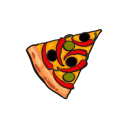 Vector flat pizza slice with chili pepper, olives cheese and peas. Fast food cartoon isolated illustration on a white background. Italian food icon. Restaurant, cafes advertising object