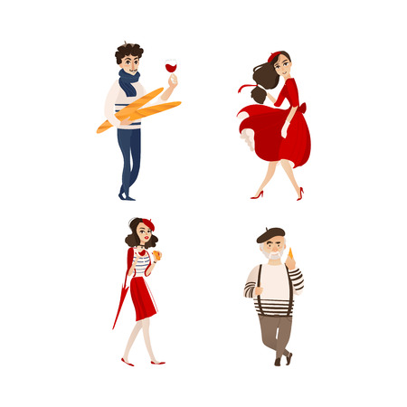 vector flat French parisian man with baguette, woman with umbrella, croissant and glass of wine, girl in red dress, male character in pants on suspenders set Isolated illustration ona white background