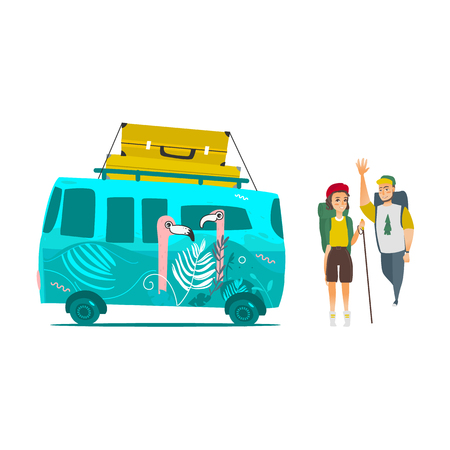 vector flat minivan vehicle with big bags at its roof, man girl hikers with backpacks waving hand. car with flamingos print. Road trip, travelling concept. Isolated illustration on a white background. Ilustracja