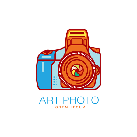 Vector art photo camera colored icon pictogram. Flat cartoon isolated illustration on a white background. Brand concept for photo studio design
