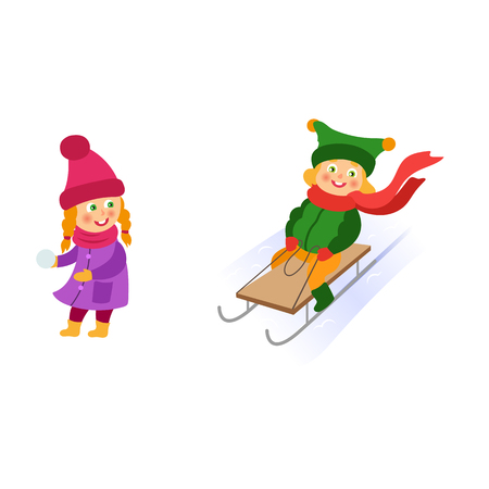 Kids, children doing winter activities - one rushing downhill on a sleigh, another ready to throw a snowball, cartoon vector illustration isolated on white background. Kid, children winter activities