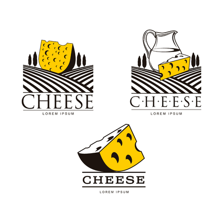 Set of icon templates with cheese chunks, fields and jug, vector illustration isolated on white background. Set of cheese icon, emblem, symbol design concepts