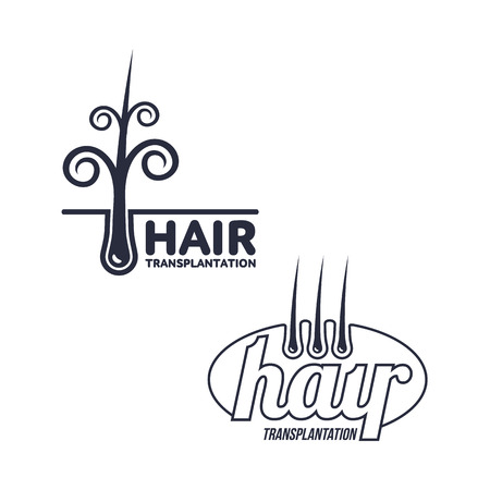 Two hair transplantation icon, templates, vector illustration isolated on white background. Hair loss treatment icon for medical hair transplantation centers