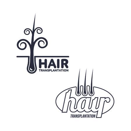 Twee haartransplantatie pictogram, sjablonen, vectorillustratie geïsoleerd op een witte achtergrond. Haarverlies behandeling pictogram voor medische haartransplantatie centra