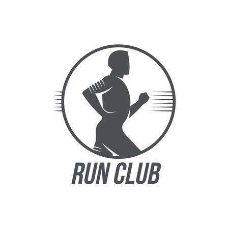男は、白い背景で隔離の黒と白のベクトル図をジョギングを実行クラブ アイコン ・ テンプレート。