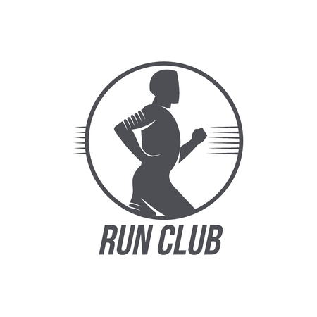 Run club icon template with jogging man, black and white vector illustration isolated on white background.