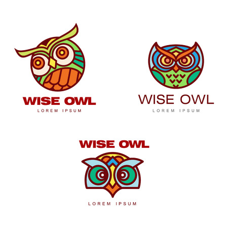 Set of icon templates with owl heads, vector illustration isolated on white background. Multicolored owl head, badge templates for companies, schools and colleges