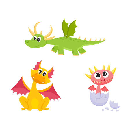 vector flat cartoon funny teen green flying, and yellow sitting dragons with horns and wings and baby hatching from egg cute fairy dragon characters set. Isolated illustration on a white background.