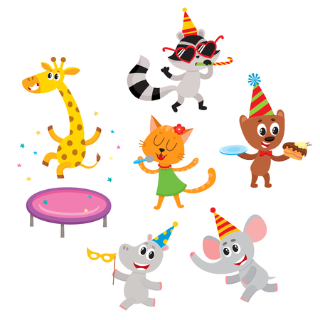 vector flat animals character in paty hat. giraffe jumping on trampoline, raccoon whistling elephant dancing, hippo running, cat singing, bear eating cake. isolated illustration on a white background