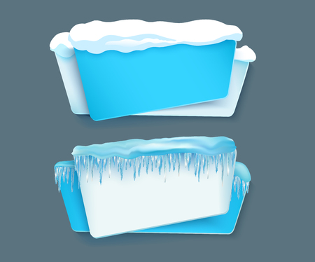 vector cartoon realistic white, blue winter empty banner templates wit snow caps, icicles set. Illustration on grey background with space for your text. Christmas, new year holidays design element Ilustrace