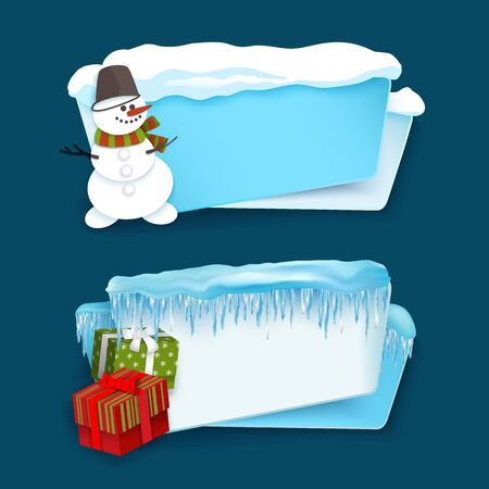 vector cartoon realistic white, blue winter empty banner templates wit snow caps, icicles and christmas new year holidays symbols - snowman, present boxes set. Illustration on grey background. Reklamní fotografie - 86636748