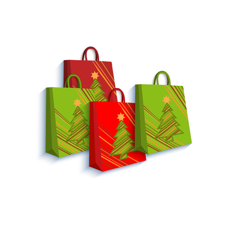 Shopping bag set decorated with Christmas trees, gift, present boxes, paper cut decoration element, flat style vector illustration on white background. Christmas present, gift in form of shopping bag Illustration