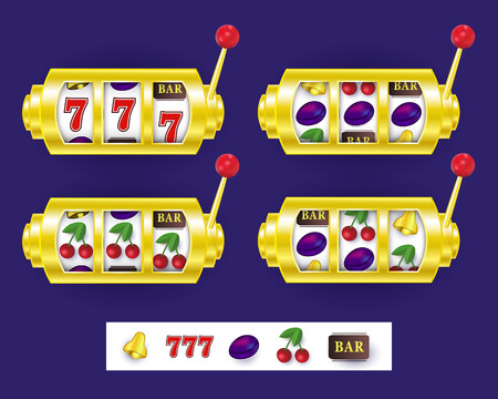 Slot machine display showing various jackpot winning combinations, vector illustration isolated on white background. Set of slot machine display variants, spinning reels, lever and jackpot symbols Illustration