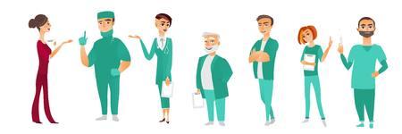 남성과 여성의 의사, 치료사, 간호사, 외과, 의료 직원, 병원 직원, 흰색 배경에 고립 된 평면 만화 벡터 일러스트 레이 션의 집합입니다. 의료 유니폼에
