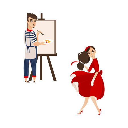 vector flat cartoon beautiful young woman in red felt beret, long dress smiling. French, parisian man artist painter drawing on easel canvas. Isolated illustration ona white background.
