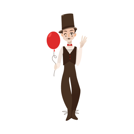 vector flat cartoon man clown in black and white suit, red bowtie top hat holding air balloon in hands. Artist, mime creative people from france concept. Isolated illustration on a white background. Illustration