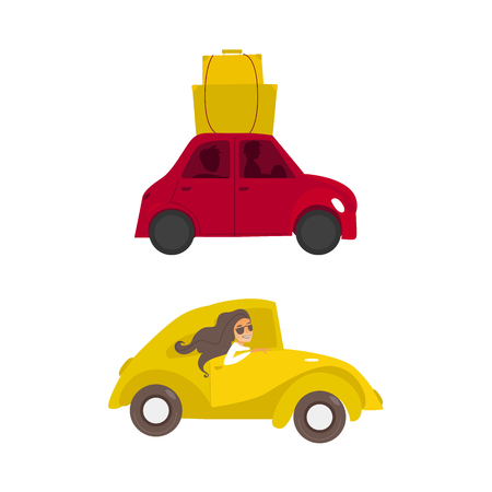 vector flat cartoon yellow car , beautiful girl in sunglasses driving, red car with bags at its roof set. Travelling by motor vehicle, road trip concept. Isolated illustration on a white background. Ilustracja