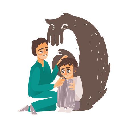 ベクトルフラット医師は、うつ病、恐怖、膝を抱えて座っている男性のキャラクターに苦しむ男の心を落ち着かせる、後ろのモンスターシャドウ。
