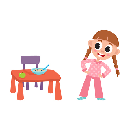 vector flat cartoon girl kid are going to eat apple and porridge from baby table, standing near it smiling. isolated illustration on a white background. Daily routine concept