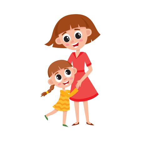 vector flat cartoon girl daughter and woman hugging. Isolated illustration on a white background. Kid and mother characters loving each other. Daily routine concept