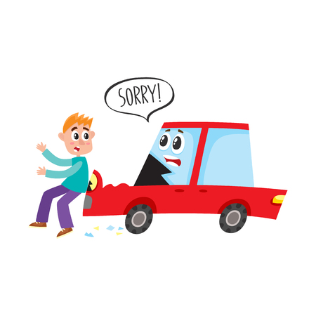 vector flat cartoon pedestrian accident, young man was hit by red car character saying sorry, hood dented and human damaged. Isolated illustration on a white backgound. Road safety concept