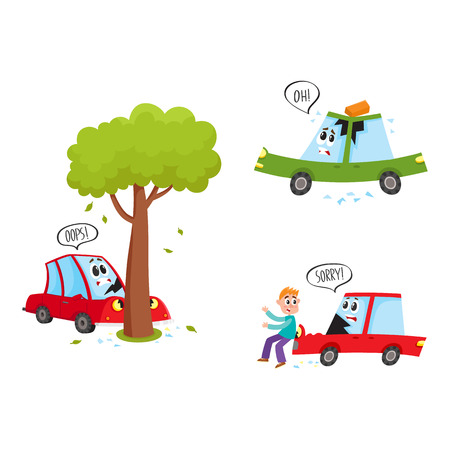vector flat car characters with face accident set. Vehicle crashed into the tree saying oops, car hit pedestrian saying sorry, brick fallen to autos roof . Isolated illustration on a white background