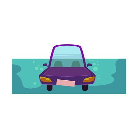 Vektor flache Cartoon stilisierte Drowing Auto. Purpur farbiges lustiges Spielzeug ähnliches Fahrzeug, Versicherungskonzept des natürlichen Unfall des Autos. Getrennte Abbildung auf einem weißen Hintergrund.