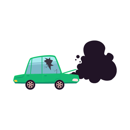 vector flat cartoon broken car with cracked glass, open hood and black smoke coming from it. Isolated illustration on a white background. Road safety concept Illustration