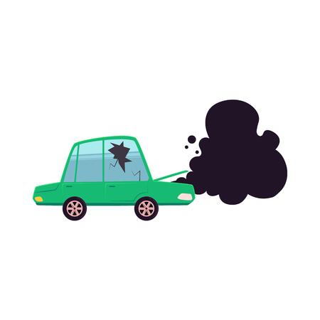 vector platte cartoon gebroken auto met gebarsten glas, open kap en zwarte rook uit het. Geïsoleerde illustratie op een witte achtergrond. Verkeersveiligheid concept Stock Illustratie