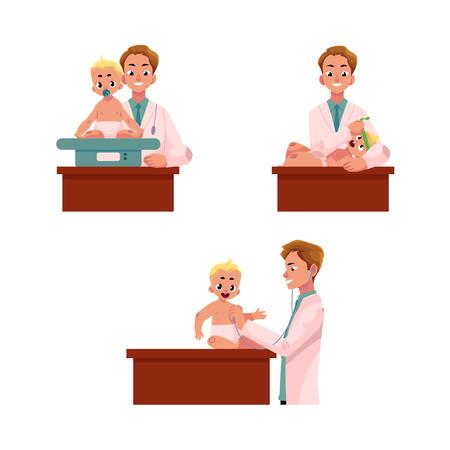 남자 의사, 소아과 검사 아기, 유아 무게, 하트 비트, 머리 크기, 만화 벡터 일러스트 레이 션 흰색 배경에 고립의 집합입니다. 의사, 정기적 인 의료 아