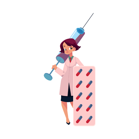 Young woman doctor holding huge medical syringe and blister of pills, cartoon vector illustration isolated on white background. Cartoon woman doctor with huge medical syringe and pills Illustration