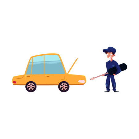 vector flat cartoon funny young man, boy mechanic in blue uniform holding screwdriver near car with open hood. Male full lenght portrait caucasian isolated, illustration on a white background