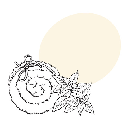 Top view of rolled up fluffy green towel, spa salon accessory, black and white outline vector illustration with space for text. Realistic hand drawing of towel roll, spa salon accessory Ilustração