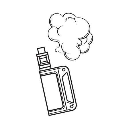 Hand drawn vape, vaping device with smoke cloud, black and white sketch vector illustration isolated on white background. Realistic hand drawing of vape, vaporizer device emitting smoke cloud Ilustração