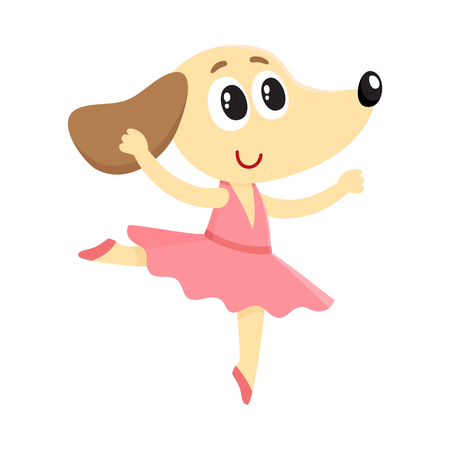 Cute little dog, puppy character, ballet dancer in pointed shoes and tutu skirt, cartoon vector illustration isolated on white background. Little puppy baby animal, ballet dancer, ballerina in tutu