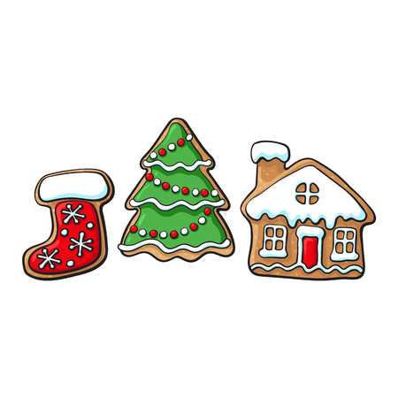 Set of glazed Christmas tree, village house and Santa boot gingerbread cookies, sketch vector illustration isolated on white background. Christmas glazed gingerbread cookies - Xmas tree, house, boot
