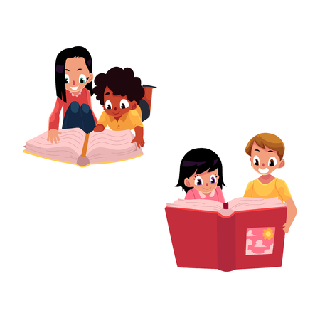 Set of kids, children reading thick interesting book together, cartoon vector illustration isolated on white background. Couples of kids, children reading a book