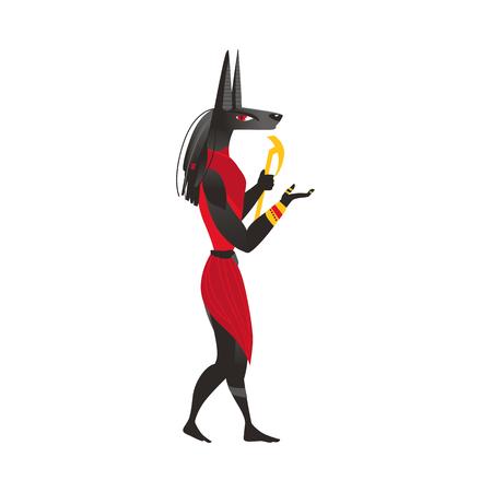 Anubis, dios de la otra vida en la religión del antiguo Egipto, ilustración vectorial de dibujos animados plana aislado sobre fondo blanco. Anubis, dios egipcio antiguo, retrato plano de la cara de la vista lateral de la historieta Foto de archivo - 86636787