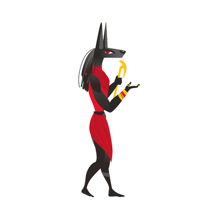 Anubis, god of afterlife in ancient Egypt religion, flat cartoon vector illustration isolated on white background. Anubis, ancient Egyptian god, flat cartoon side view full length portrait Illustration