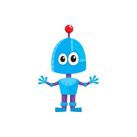 vector flat cartoon funny friendly robot. Small Humanoid boy character with legs arms, with locator on head without mouth . Isolated illustration on a white background. Childish futuristic android. Illustration
