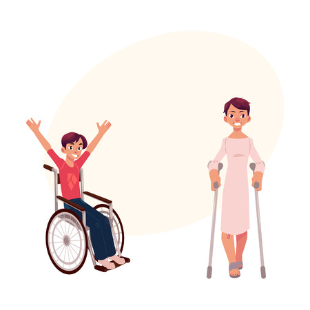 Young man sitting in wheelchair, raising hands in happiness, patient walking with crunches rehabilitation concept, cartoon vector illustration i with space for text.