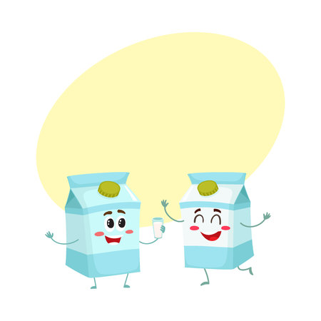 Two funny carton box character, one offering glass of milk to another, cartoon vector illustration with space for text. Cute, funny, happy milk carton box characters, dairy products