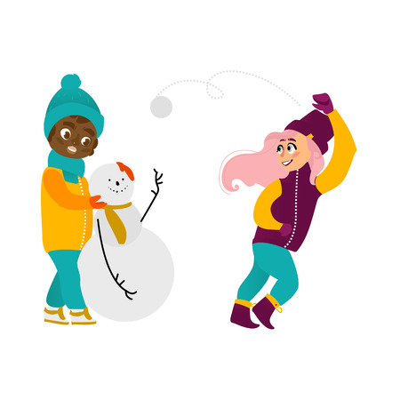 vector girl playing snowballs, boy making snowman smiling set. Flat cartoon illustration isolated on a white background. Kids characters having fun outdoors. Winter children activity concept