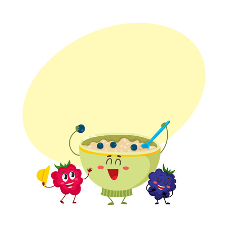 Funny smiling bowl of oatmeal porridge and raspberry, blackberry berry characters, cartoon vector illustration with space for text. Cute and funny oatmeal porridge bowl and berry characters Illusztráció