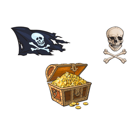 vector cartoon pirates symbols set isolated iilustration on a white background. Skull and cross bones, treasure chest full of gold, jolly roger flag Stock Vector - 86636803