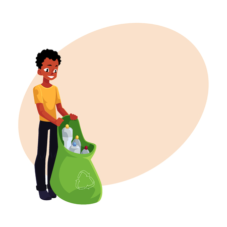 Black man holding bag of plastic bottles, garbage recycling, cartoon vector illustration with space for text. Black, African American man with bag of plastic bottles, garbage collection