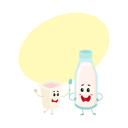 Funny happy milk bottle and yogurt cup characters with smiling human faces, cartoon vector illustration with space for text. Cute, funny milk bottle and yogurt cup characters, dairy mascots